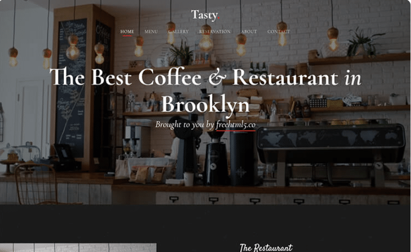 Tasty - free restaurant cafe website template