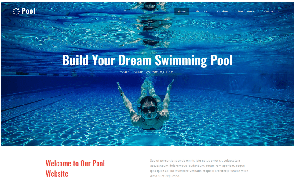 swimming-pool-website-template One Page Template Bootstrap Personal on how use, list crud actions, login page, grid layout,