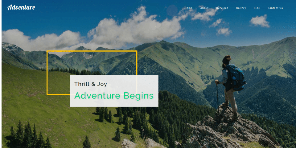 Adventure - travel category web template