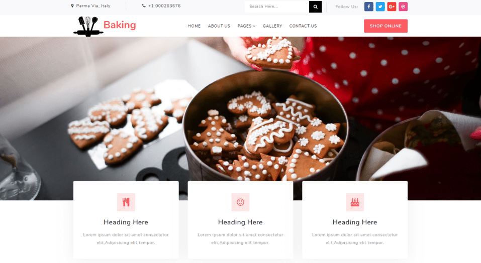 Baking - responsive restaurant web template