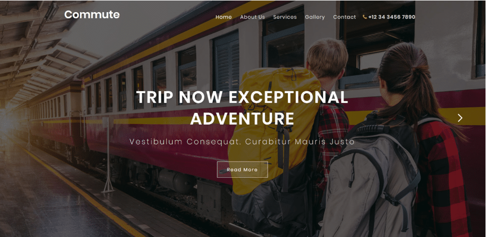 Commute - travel category website template