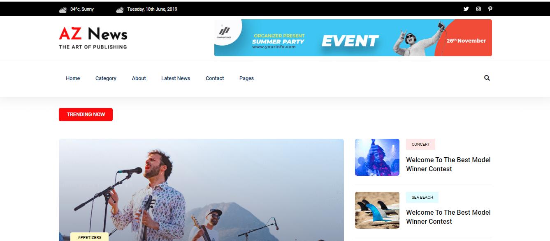 Aznews - news portal website HTML template