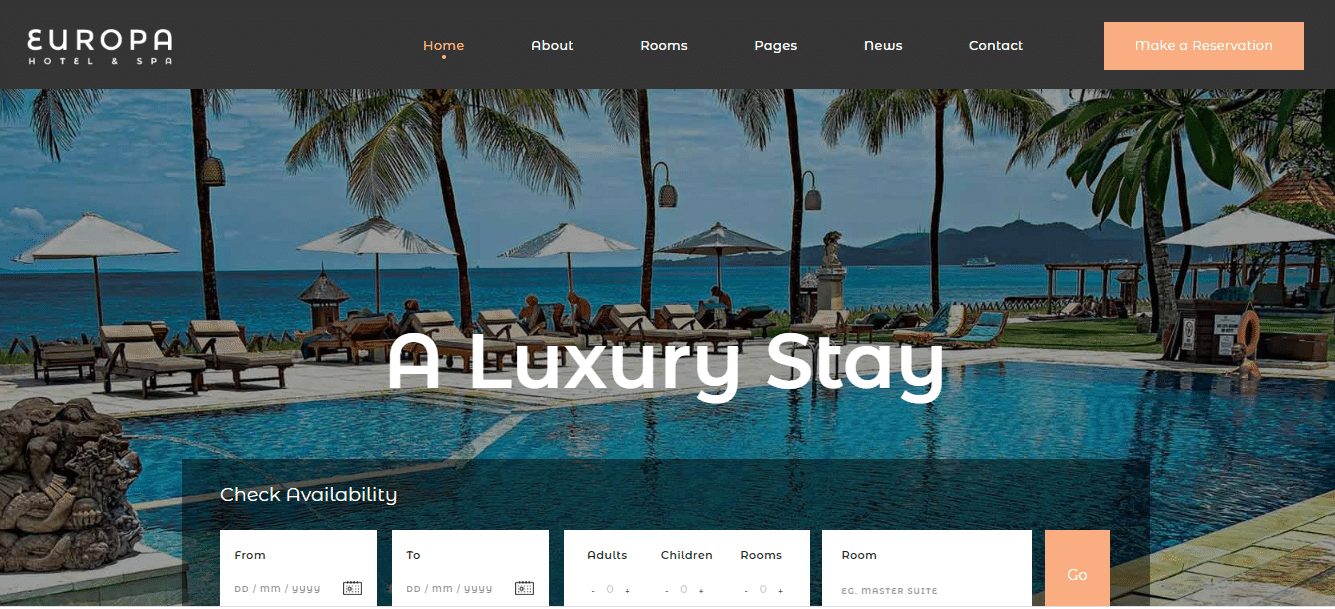 Europa - accommodation website HTML template