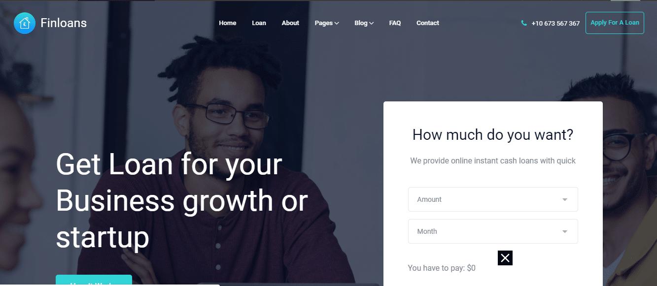 Finloans - financial business website HTML template
