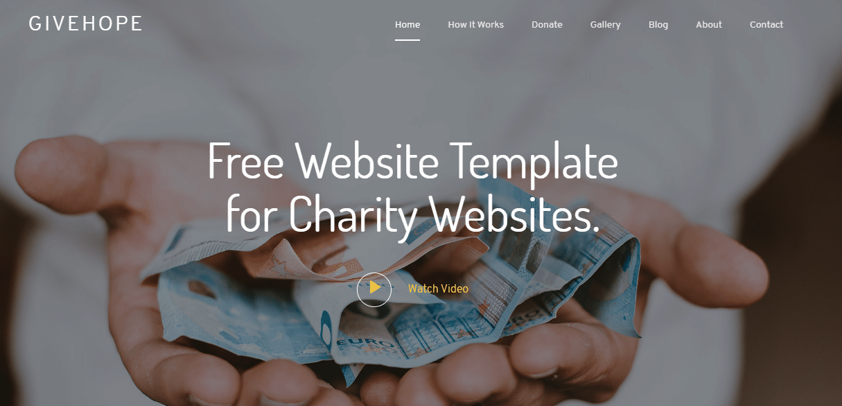 GiveHope - A charity Website HTMLTemplate