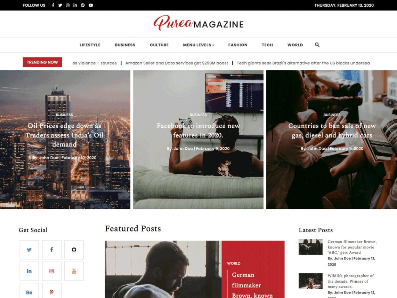Purea - newspaper style WordPress theme