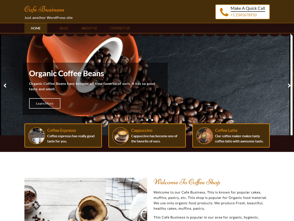 Café Business WordPress Theme