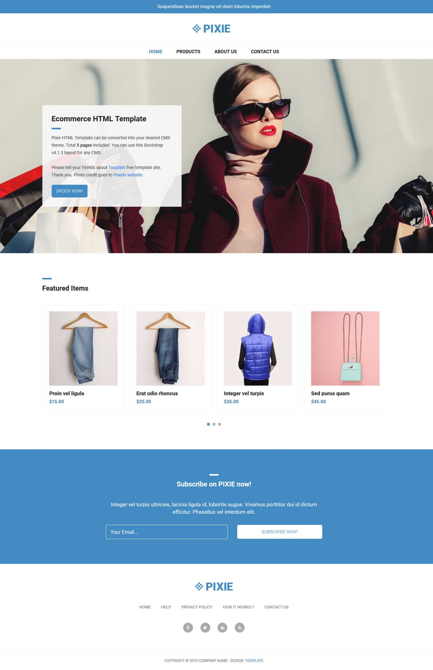 Pixie Ecommerce HTML Template