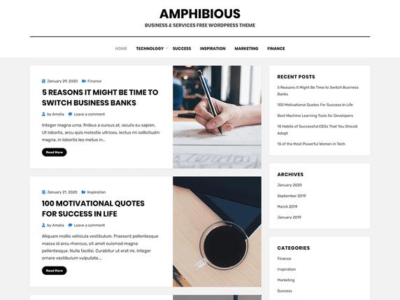 Amphibious - personal blog WordPress theme