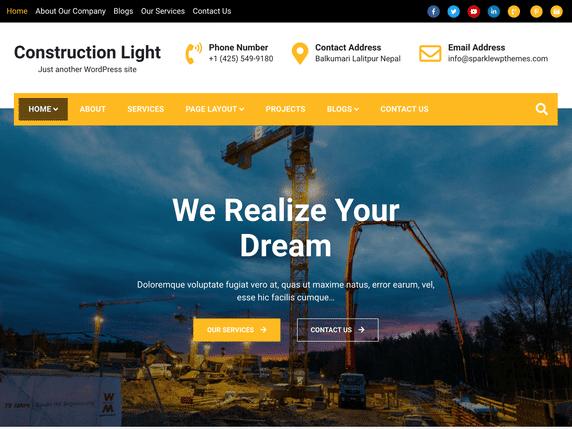 Construction Light - WordPress theme