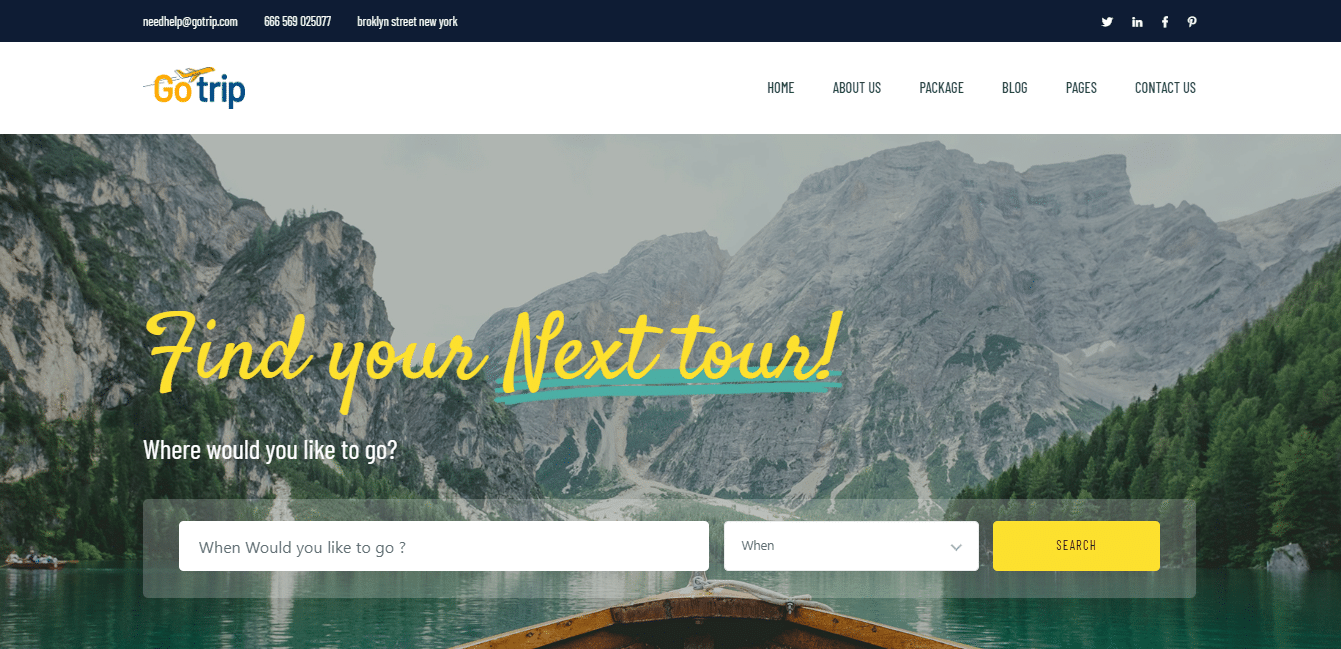 GoTrip- tour & travel website template