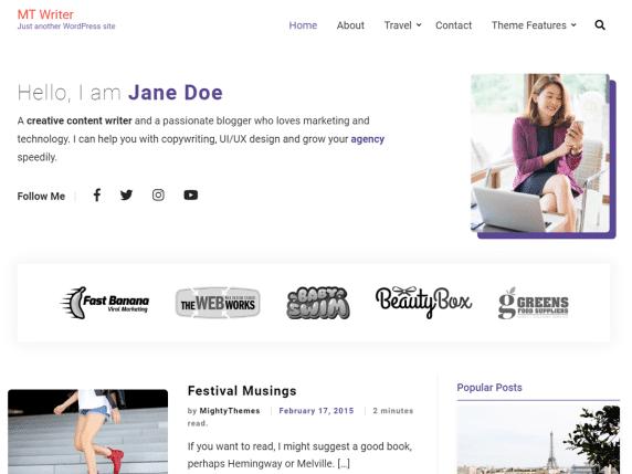 MTWriter - WordPress blog website theme