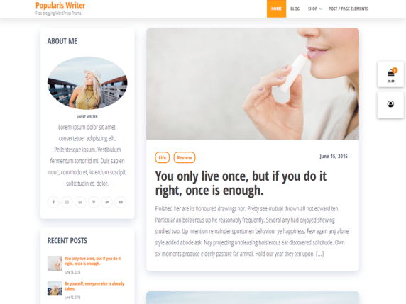 Popularis Writer – WordPress blogging theme