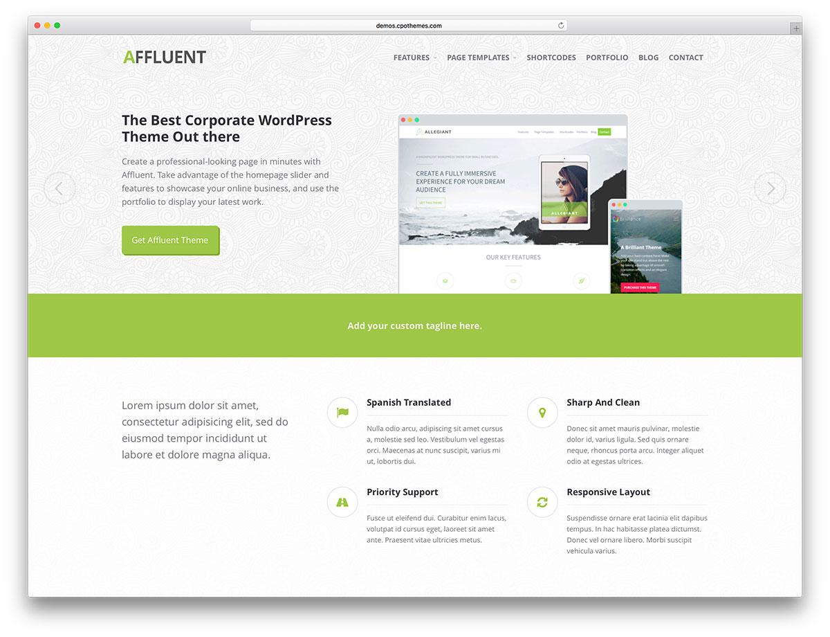 Affluent - responsive WordPress theme