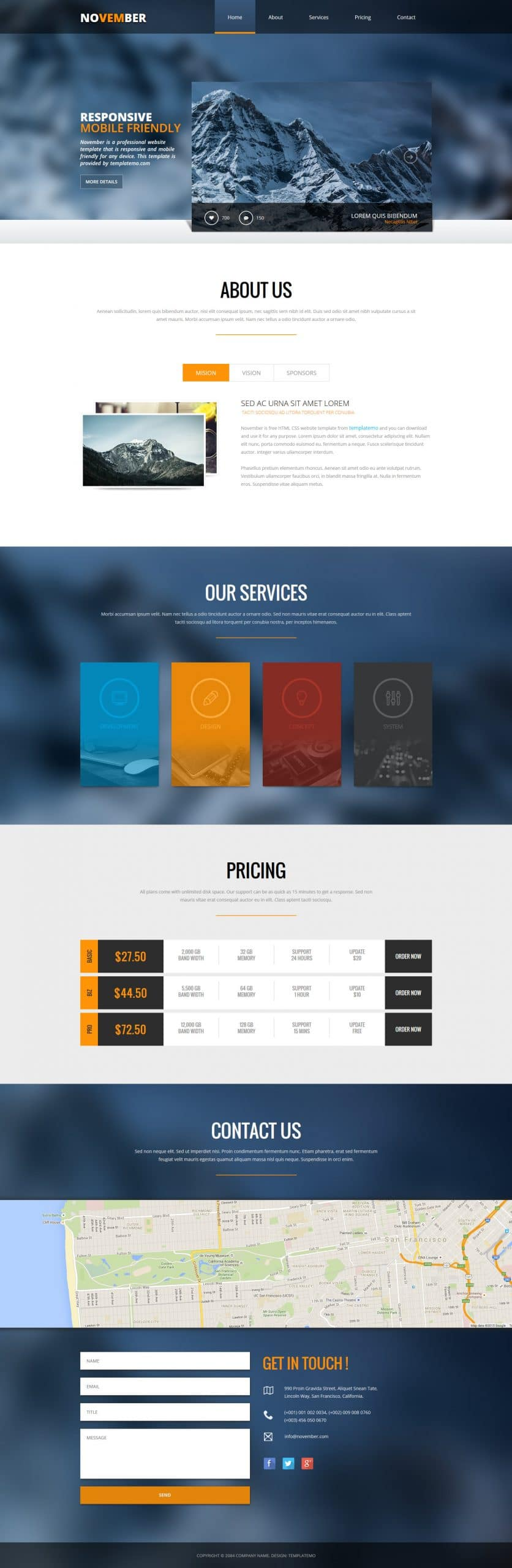 November - HTML template for professional websites