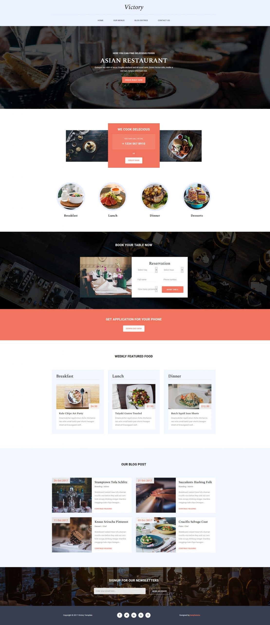 Victory - food and restaurant HTML template