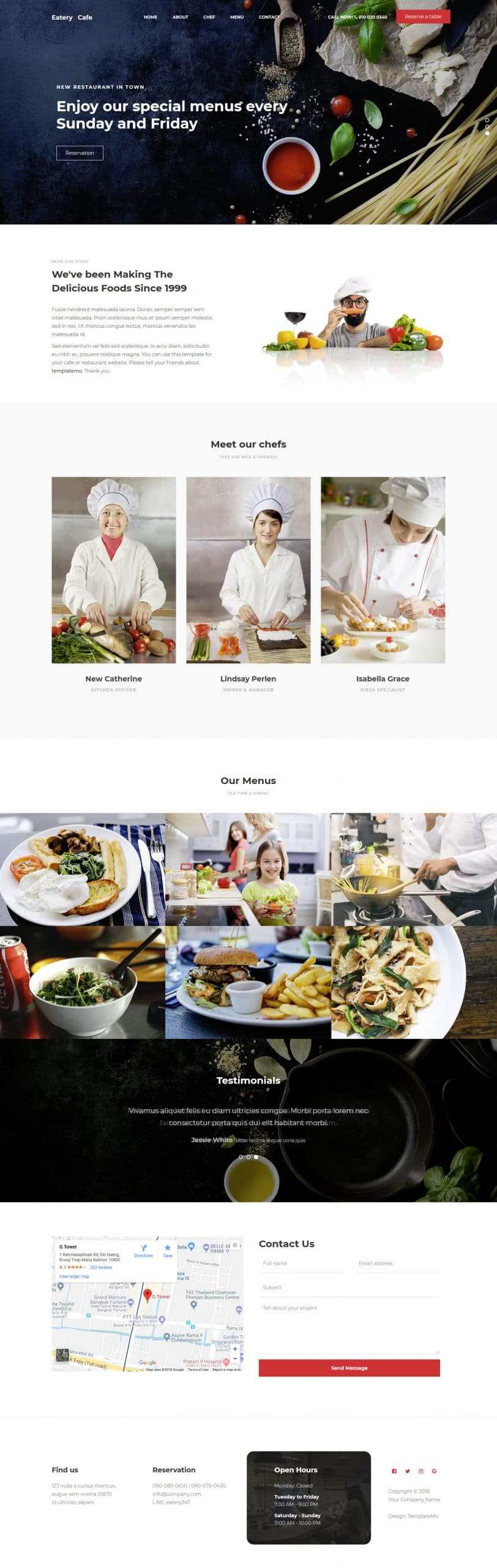 Eatery - HTML Template for cafe websites