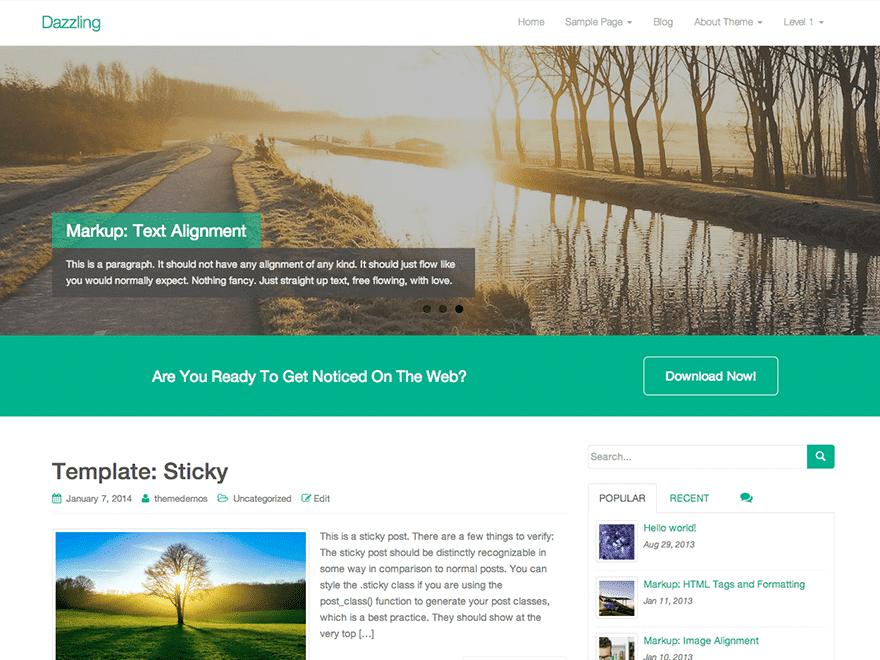 Dazzling - free WordPress theme