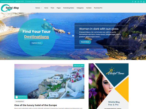 Wishful Travel - WordPress theme