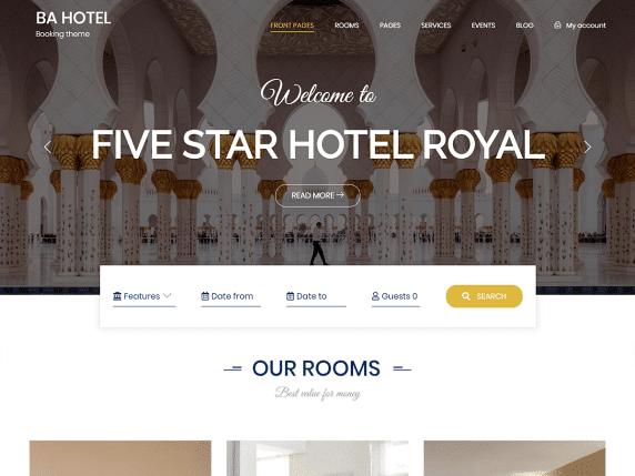 BA Hotel light - accommodation booking website WordPress theme