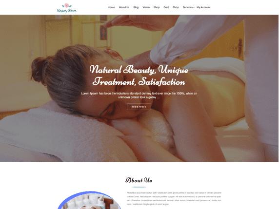 Beautystore - beauty business website WordPress theme.