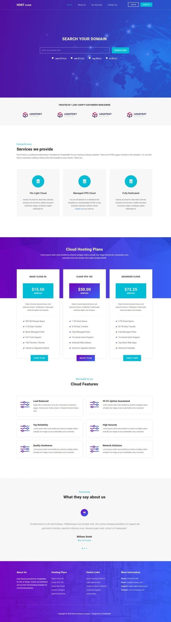 Host Cloud - web hosting company HTML template