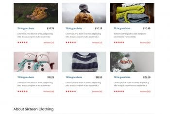 Sixteen Clothing – eCommerce Website HTML Template