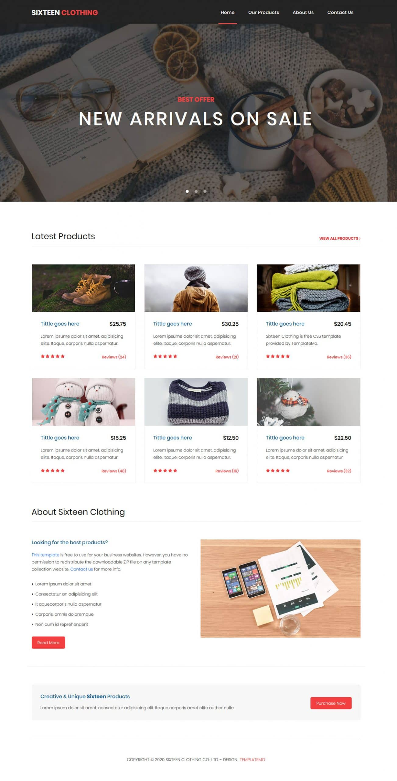 Sixteen Clothing - eCommercer website HTML template
