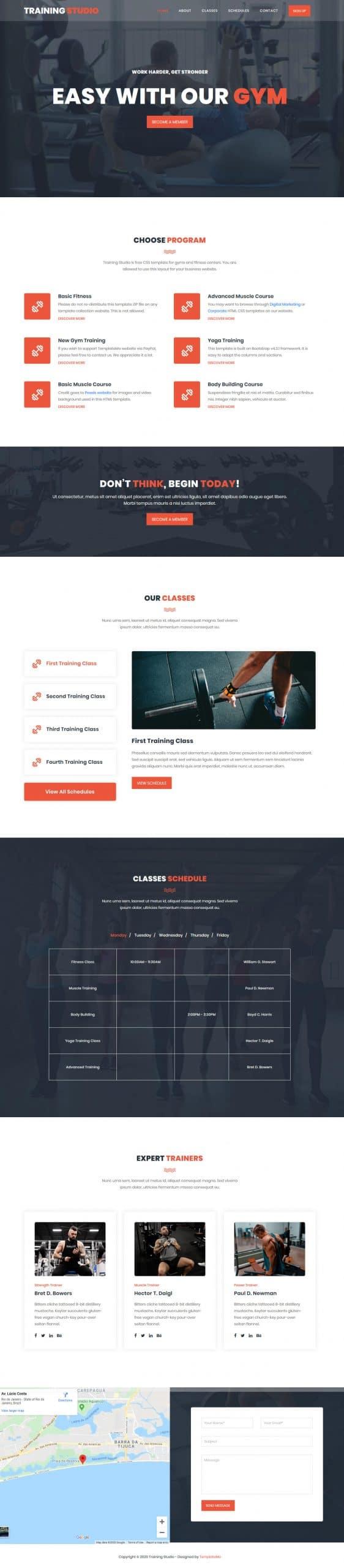 Training Studio- gym/fitness website HTML template