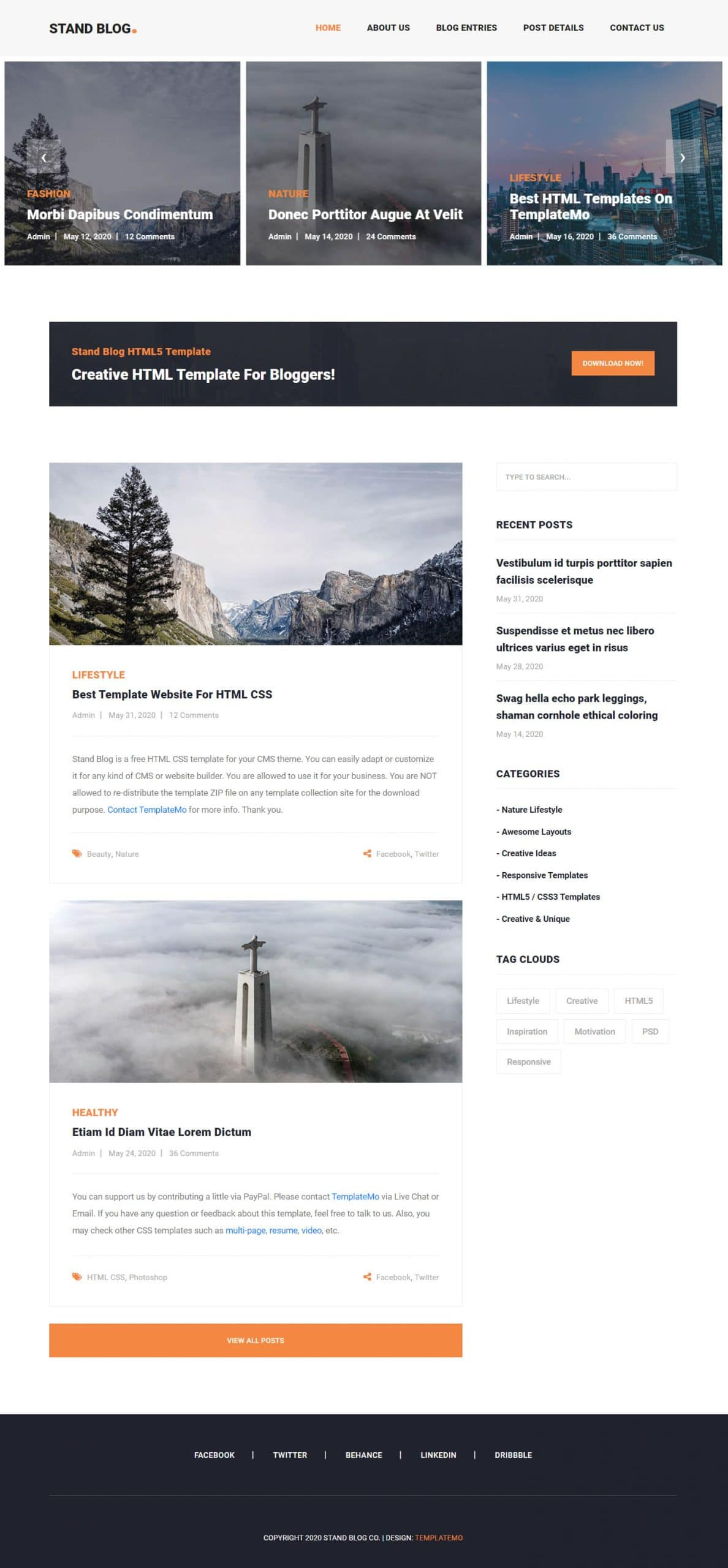 Stand Blog - free blog website HTML template