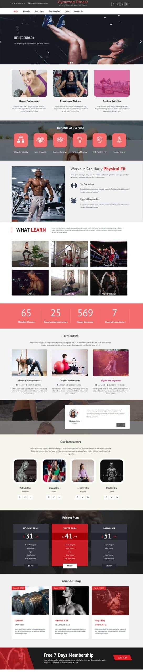 GymZone Fitness WordPress Theme