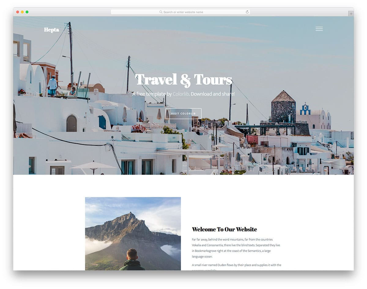 Hepta - travel business HTML template