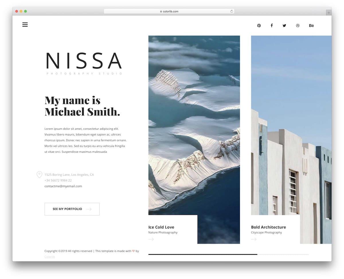 Nissa - photography website HTML template