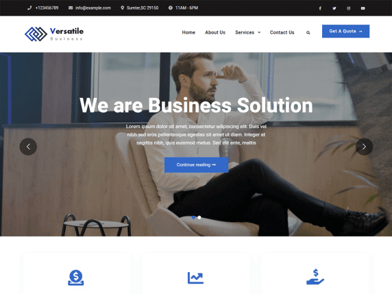 Versatile Business - light business WordPress theme
