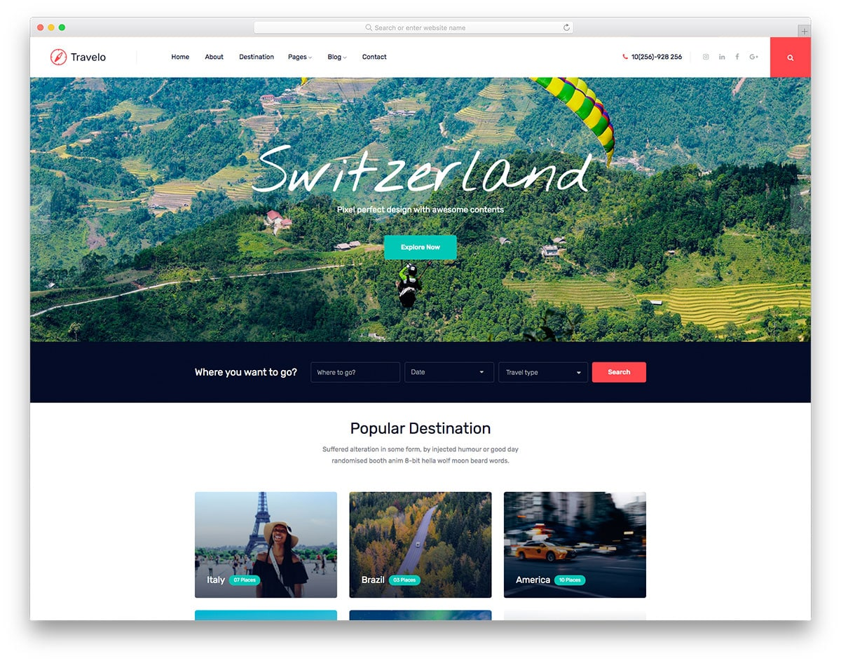 Travelo - travel agency website HTML template