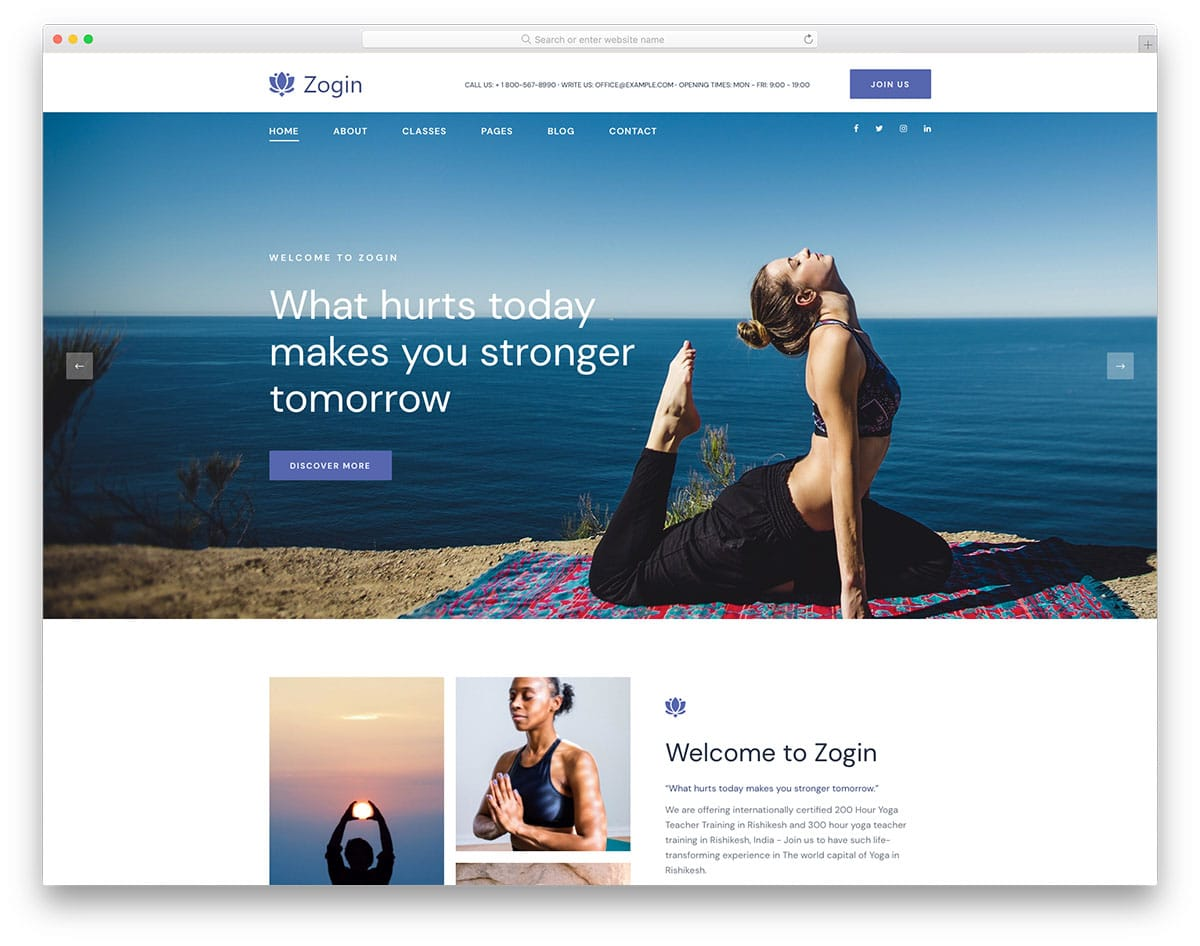 You caZogin - yoga website HTML template