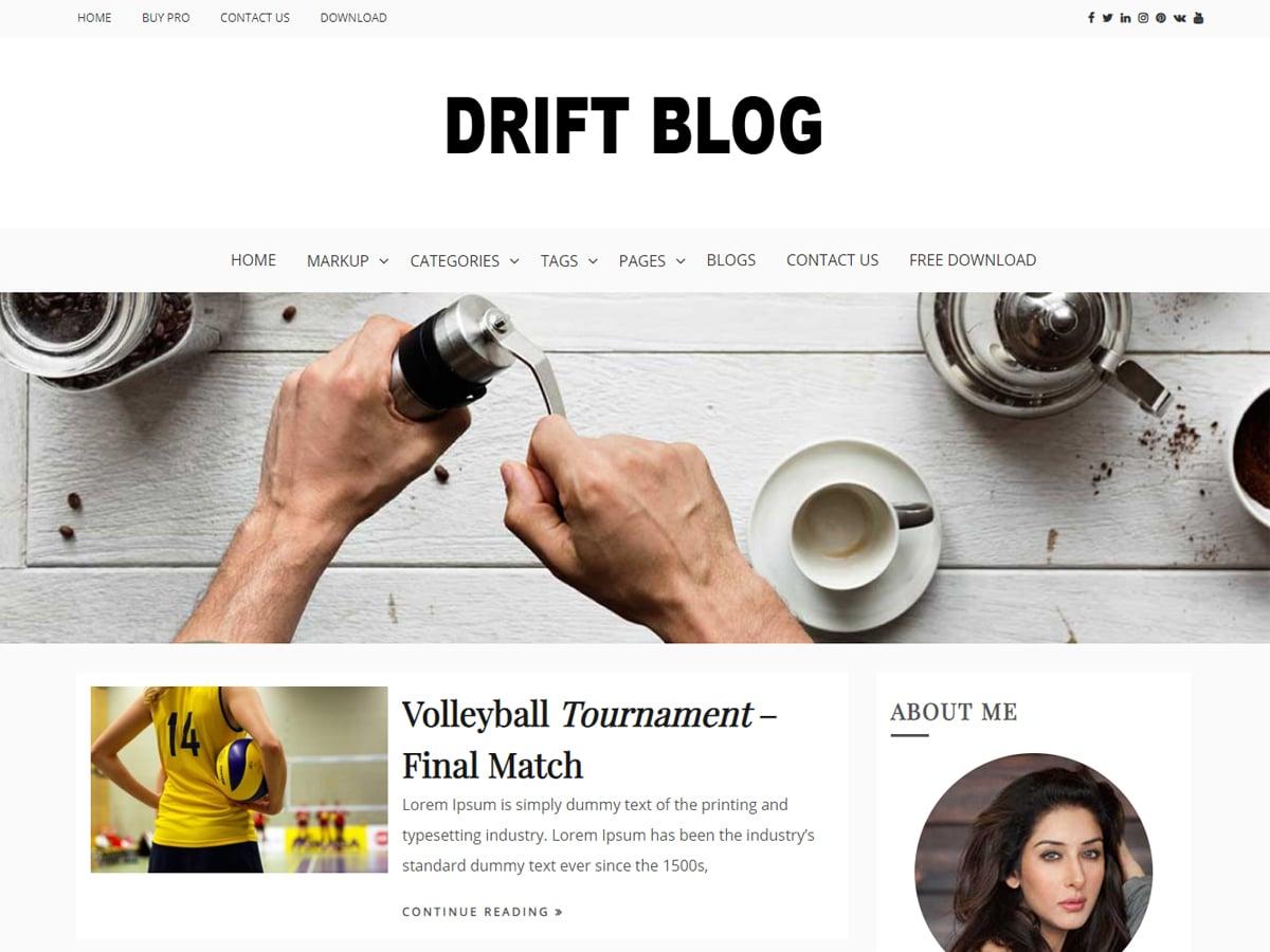 Drift Blog - free WordPress theme