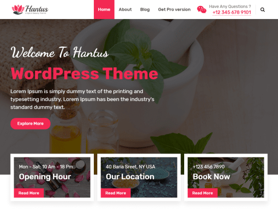 Hantus - spa/wellness website WordPress theme