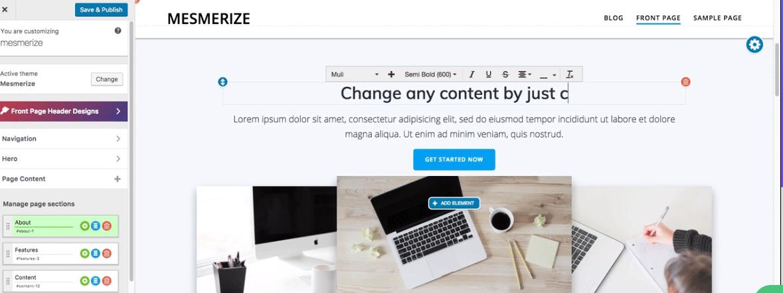 Mesmerize - free WordPress theme
