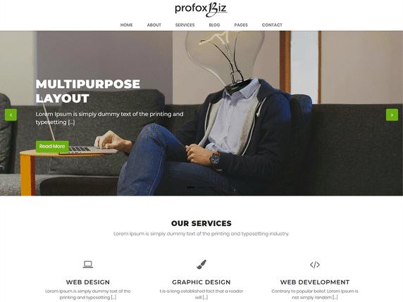 Profoxbiz - a minimal WordPress business theme