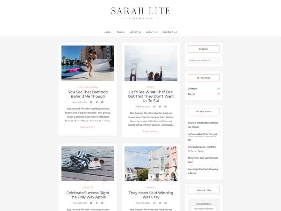 SarahLite - lifestyle blog WordPress theme