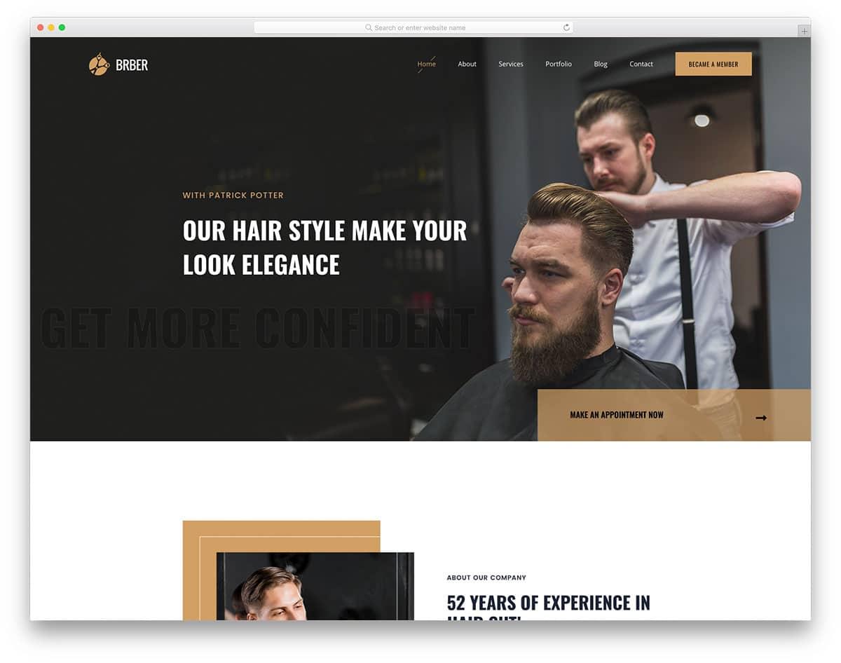 Brber - free barber/salon website HTML template