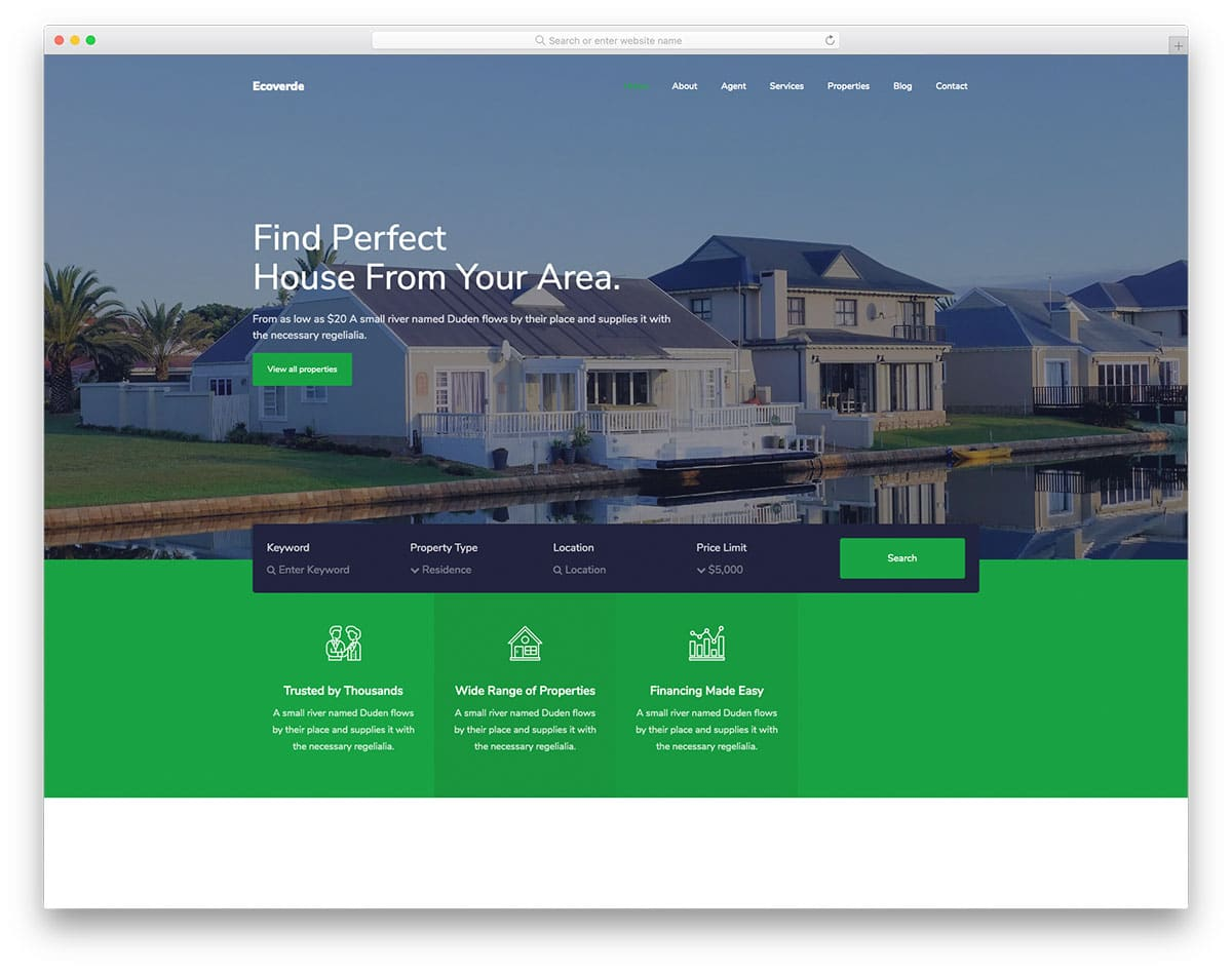 Ecoverde - real estate website HTML template