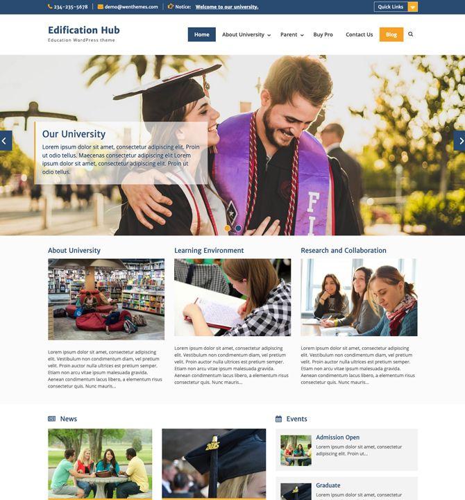 Edification Hub - education website WordPress theme