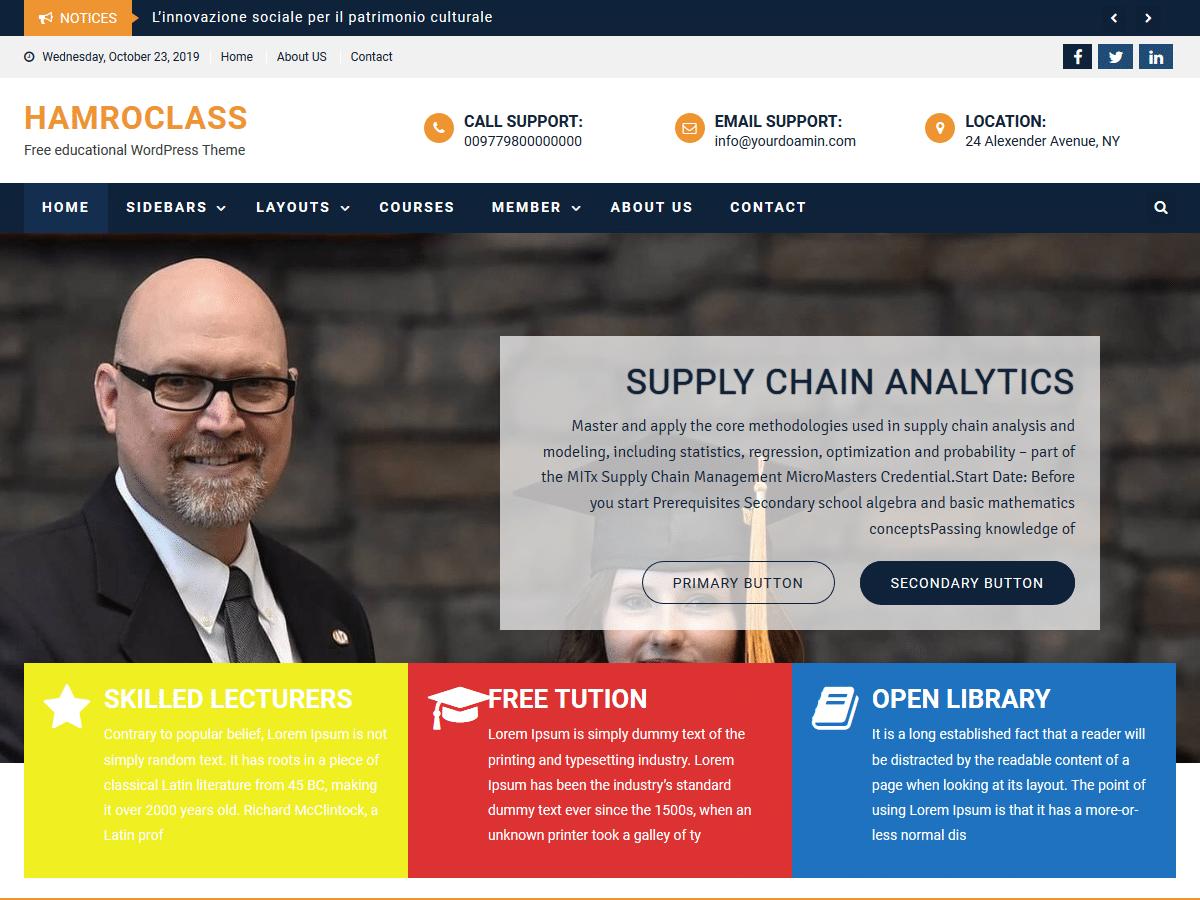 Hamroclass - education website WordPress theme