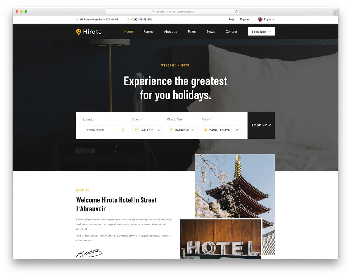 Hiroto - accommodation business website HTML template