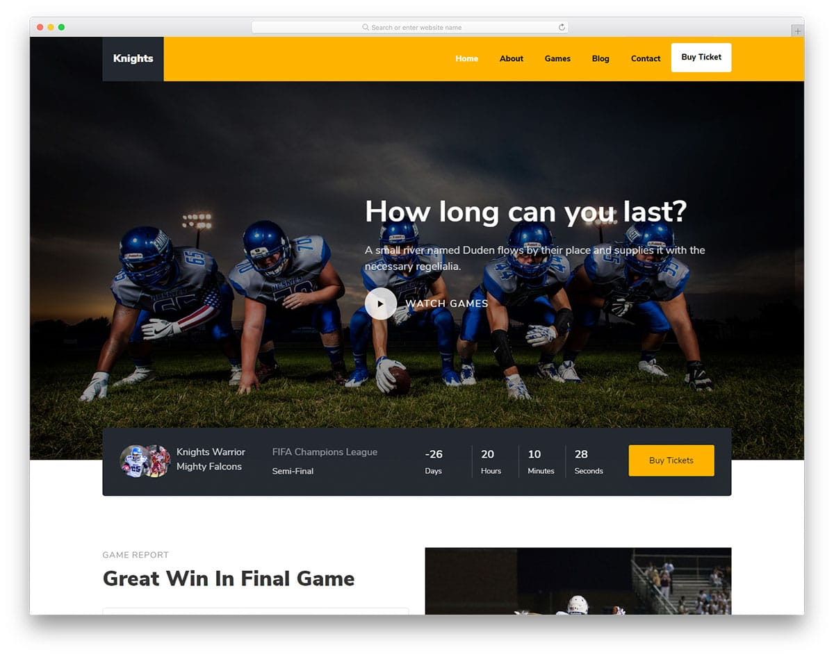 Knights - football website HTML template