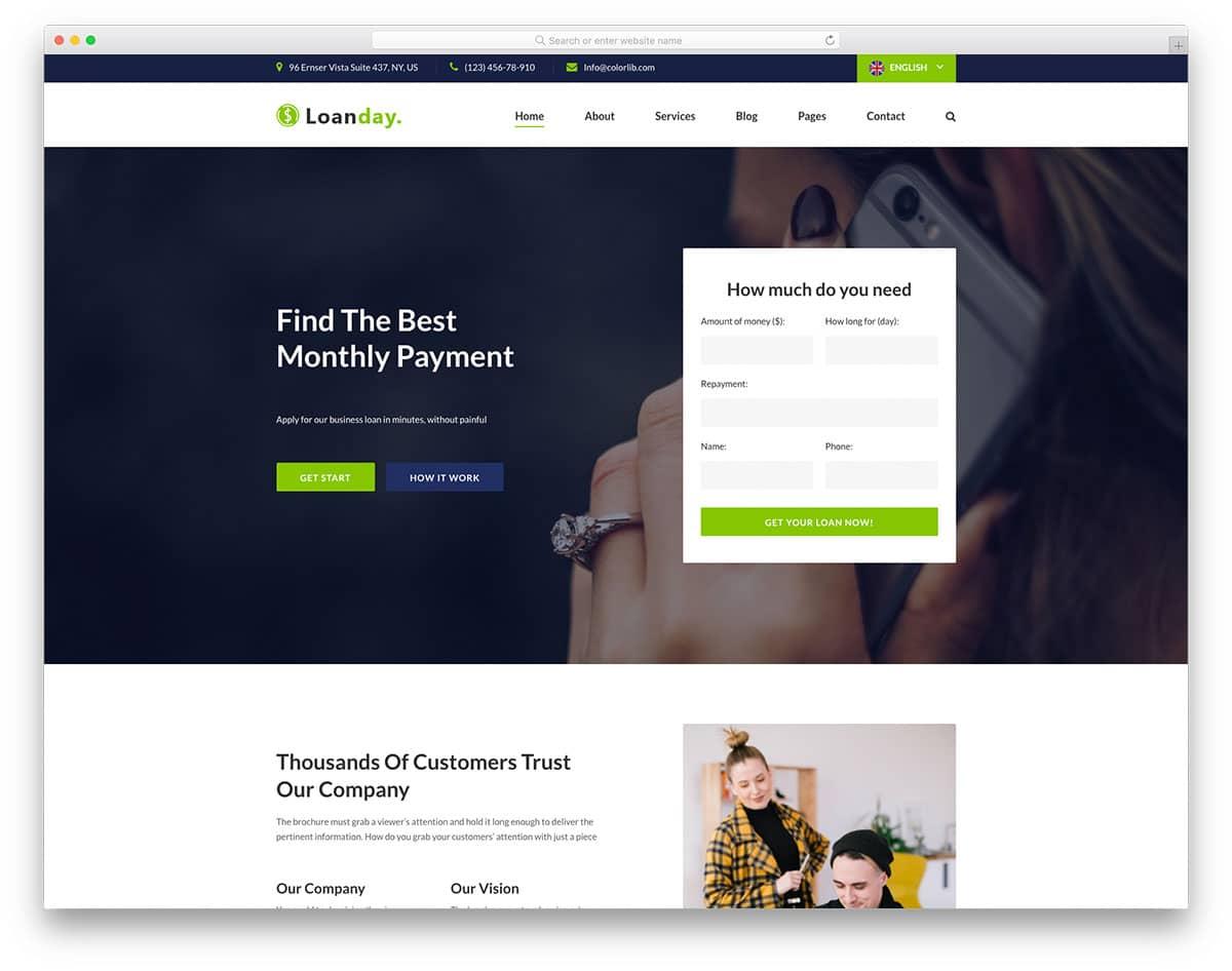 Loanday - loan website HTML template