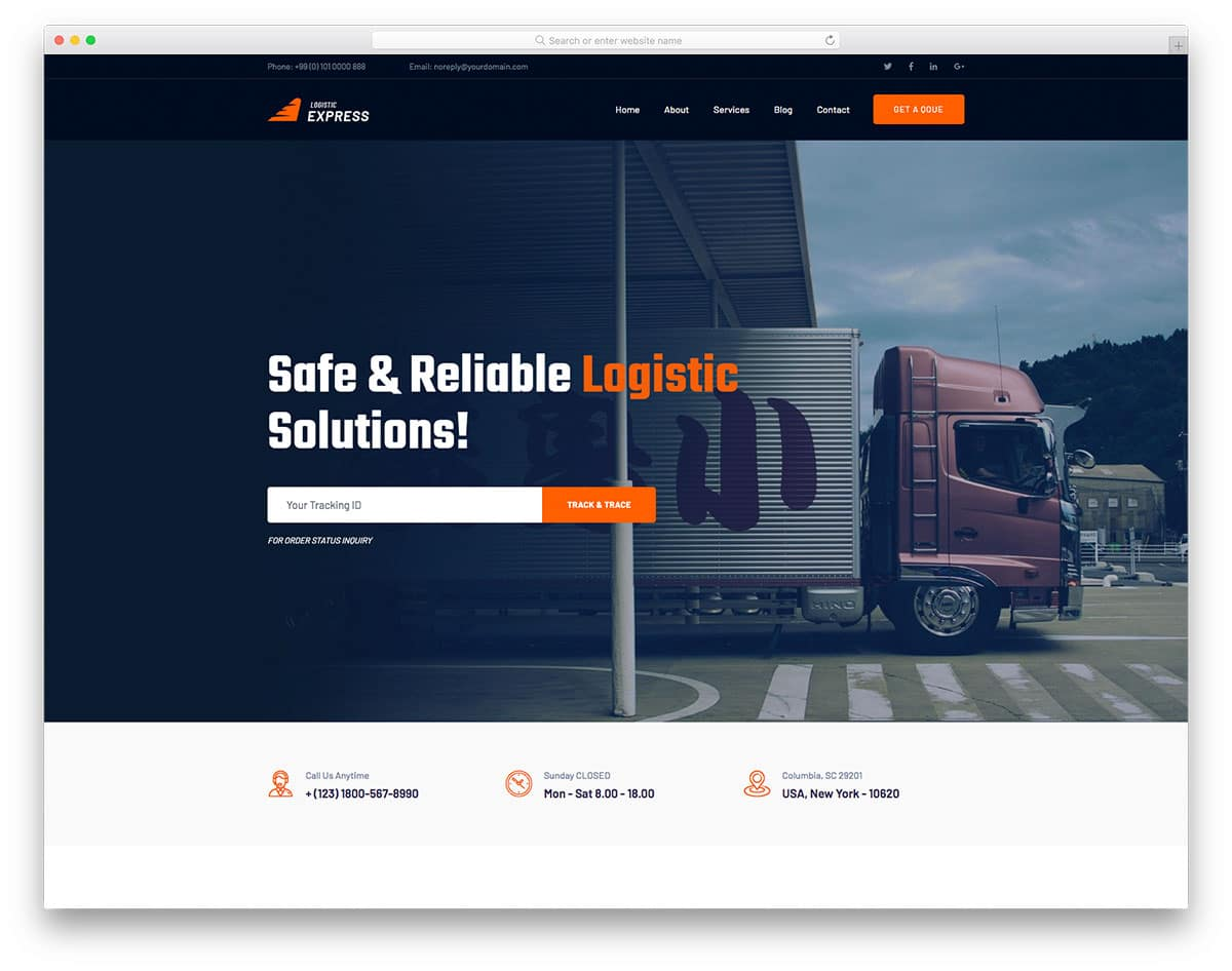 LogisticExpress - moving company website HTML template
