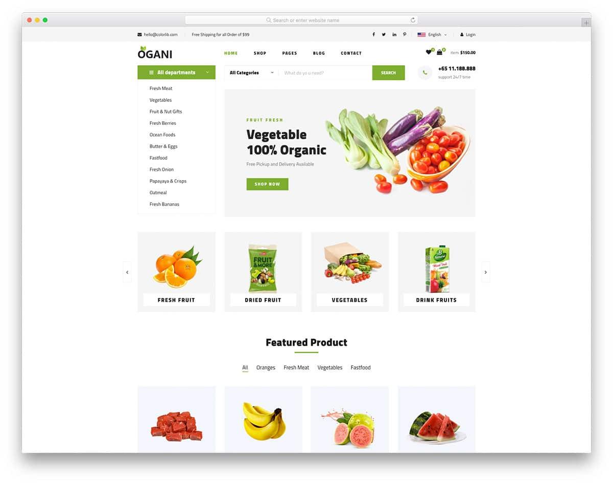 Ogani - organic food website HTML template